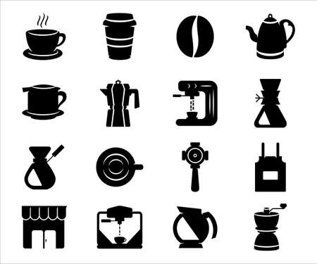 Simple Set of barista and coffee shop Related Vector icon graphic design template. Contains such Icons as coffee, cup, paper cup, bean, front shop, cappuccino machine, grinder, and apron 向量圖像