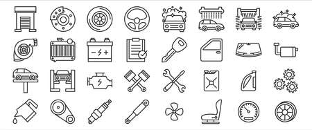 Simple Set of car automobile repairing service and checkup Related Vector icon graphic design template. Contains such Icons as car, door, brake, tire, steering, wheel, car wash, piston, spark plug and more