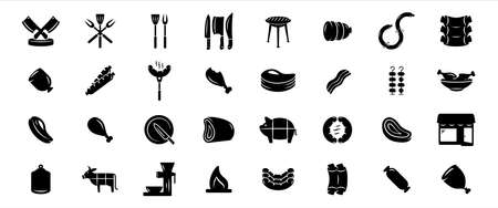 Simple Set of butchery and meat shop Related Vector icon graphic design. Contains such Icons as knife, rib, tenderloin, pork, sausage, meat slice, grinder, barbecue, grill and cow