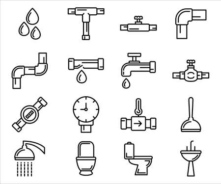 Simple Set of plumbing water piping treatment Related Vector icon graphic design template. Contains such Icons as water drop, pipe, faucet, closet and more 向量圖像
