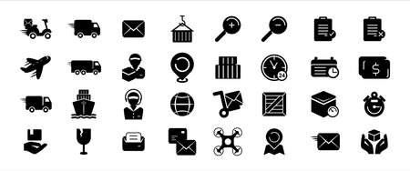 Simple Set of shipping, trucking, courier expedition service Related Vector icon graphic design template. Contains such Icons as motorcycle, truck, ship, plane, delivery, weighing, drone and more.