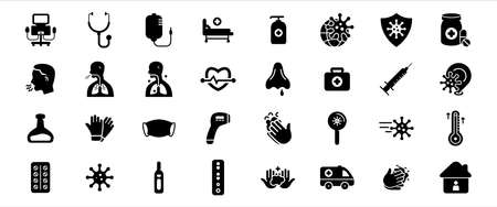 Simple Set of corona virus and virology Related Vector icon graphic design template. Contains such Icons as corona virus, respirator machine, infusion, medical bed, pneumonia, respiratory mask and more
