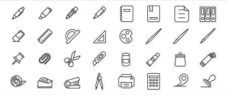 Simple Set of stationery and school supply Related Vector icon graphic design template. Contains such Icons as pen, pencil, ballpoint, book, tape, ruler, pin, painting brush, cutter, printer and more