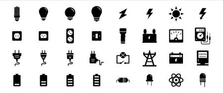 Simple Set of electricity component Related Vector icon graphic design template. Contains such Icons as light bulb, electric shock symbol, flashlight, torch, power line tower, plugin and battery 向量圖像