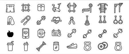 Simple Set of gym sport training exercise center Related Vector icon graphic design template. Contains such Icons as schedule, barbel, dumbbell, supplement, pushup, weight scale, rope skipping 向量圖像