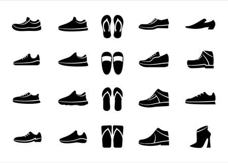 Simple Set of footwear shoes and sandals Related Vector icon graphic design template