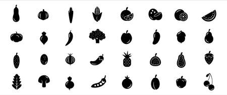 Simple Set of fruit and vegetable Related Vector icon graphic design template. Contains such Icons as citrus, lemon, broccoli, tomato, pineapple, mushroom, strawberry, mango, lychee and more