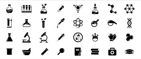 Simple Set of chemistry and physic laboratory stuff Related Vector icon graphic design template. Contains such Icons as reaction bottle, atom, microscope, particle, dna helix and glove 向量圖像