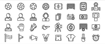 Simple Set of soccer sport Related Vector icon graphic design template. Contains such Icons as referee, commentator, whistle, card, ticket, glove, shoes, uniform, medal, flag, schedule, speaker and score
