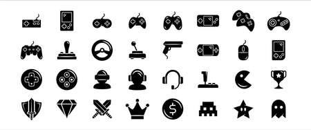 Simple Set of game, gaming stuff and controller Related Vector icon graphic design template. Contains such Icons as console, platform, joystick, steering wheel, retro, headset, sword, diamond and more