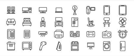 Simple Set of home appliance ware supply Related Vector icon design. Contains such Icons as speaker, cctv, chair, sofa, television, fridge, refrigerator, ac, cabinet, lamp, oven, telephone, bed