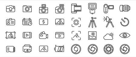 Simple Set of photography and video record Related Vector icon graphic design. Contains such Icons as digital camera, vintage old camera, negative film, tripod, shutter, lenses, and sd card