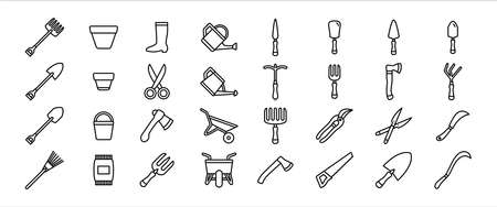 Simple Set of gardening tool service Related Vector icon graphic design template. Contains such Icons as pot, fork, boot, scoop, shovel, watering pot, axe, scissor, barrow and more 向量圖像