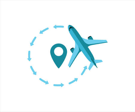 simple flat vector design of airplane flying around airport destination illustration 向量圖像