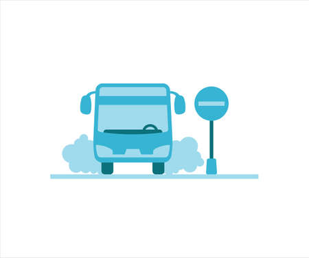 simple flat design illustration of bus stop take in or drop in the airport