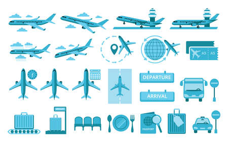 Simple Set of airport and airplane Related Vector icon graphic design illustration. Contains such illustration as landing, takeoff, climbing, command center tower, ticketing, schedule, time, passport