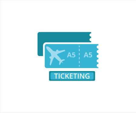 simple flat design illustration of airplane passenger ticket in the airport 向量圖像
