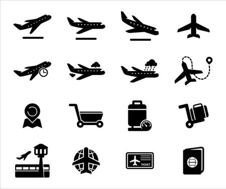 Simple Set of airport airplane travel Related Vector icon graphic design template. Contains such Icons as airplane, maneuver, climbing, takeoff, landing, luggage, weight inspection and watching tower 向量圖像