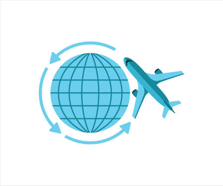 simple flat vector design of airplane flight worldwide around the globe illustration