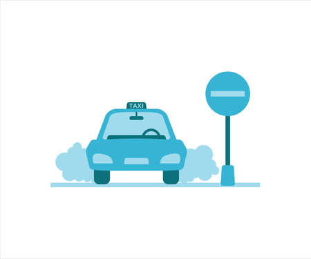 simple flat design illustration of taxi car stop take in or drop in the airport 向量圖像