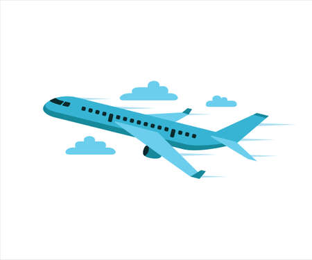 simple flat vector design of airplane flying climb up in the sky illustration 向量圖像