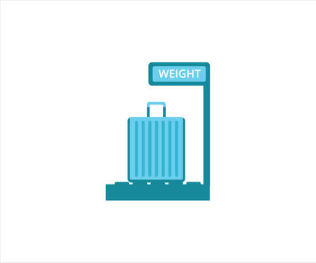 simple flat design illustration of passenger luggage weight scale inspection in the airport
