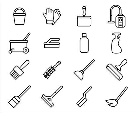 Simple Set of house cleaning equipment Related Vector icon graphic design template. Contains such Icons as home, house, cleaning, tool, equipment, bucket, glove, vacuum cleaner, wiper, sprayer