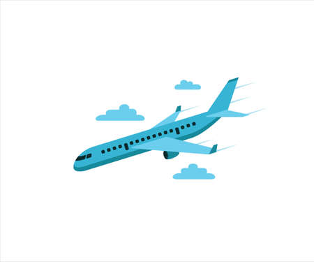 simple flat vector design of airplane flying coming down maneuver illustration