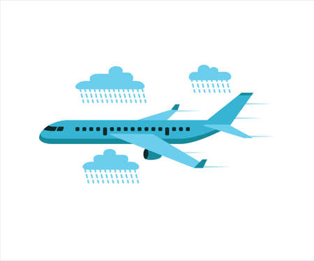 simple flat vector design of airplane flying in the middle of rain in the sky illustration