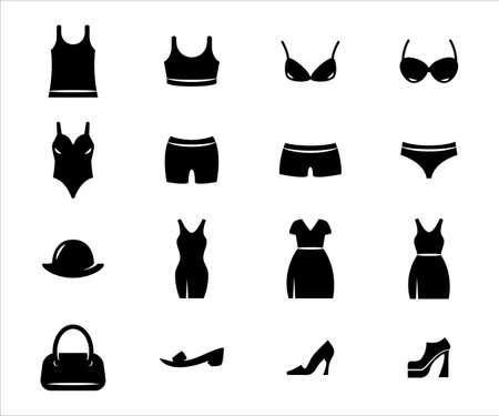 Simple Set of woman's outfit or cloth Related Vector icon graphic design. Contains such Icons as singlet, underwear, bra, sport bra, bikini, dress, tank top, thong, sleeve, slipper, heels, and bag