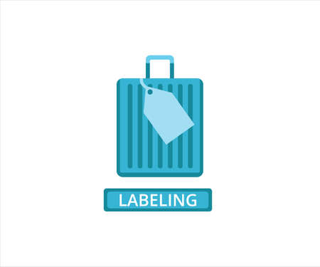 simple flat design illustration of passenger luggage labeling in the airport