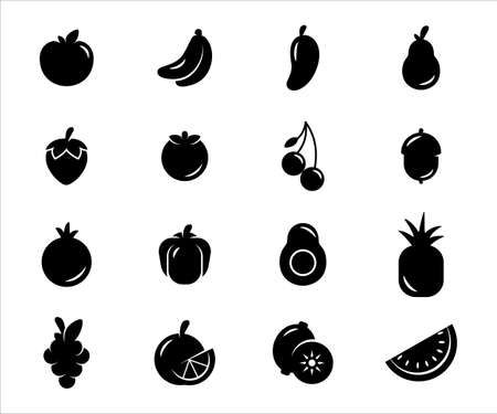 Simple Set of fruit Related Vector icon graphic design template. Contains such Icons as apple, orange, mango, avocado, strawberry, cherry, paprika, pineapple, grape, watermelon, kiwi, banana, lemon