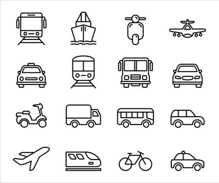 Simple Set of mass transportation vehicle Related Vector icon graphic design template. Contains such Icons as tram, train, ship, scooter, airplane, taxi, bus, car, school bus, mini bus, family car and more