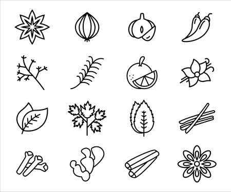 Simple Set of spice and herbs Related Vector icon graphic design. Contains such Icons as onion, garlic, pepper, chilli, star anise, mint, clove, cinnamon, cardamom, celery, basil, sage and rosemary 向量圖像
