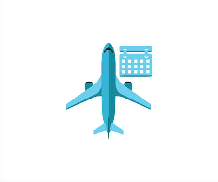 simple flat vector design of airplane flight schedule activity calendar illustration 向量圖像