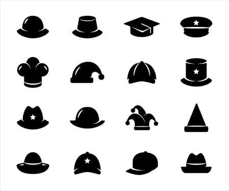 Simple Set of assorted hat Related Vector icon graphic design template. Contains such Icons as hat of police, baseball, baby, children, chef, detective, sailor and more