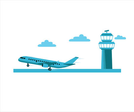 simple flat vector design of airplane takeoff in the run way with command tower behind illustration