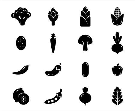 Simple Set of vegetable Related Vector icon graphic design template. Contains such Icons as broccoli, eggplant, cucumber, asparagus, beet, carrot, bamboo shoot,mushroom, corn, potato, chili