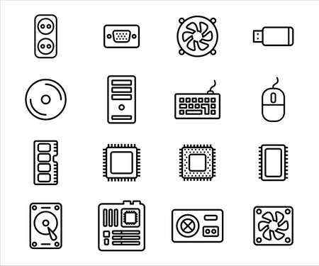 Simple Set of computer component and peripheral Related Vector icon graphic design template. Contains such Icons as processor, power supply, fan, keyboard, mouse, ram and case