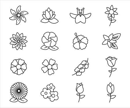 Simple Set of flower Related Vector icon graphic design template. Contains such Icons as rose, orchid, lotus, jasmine, hibiscus and more