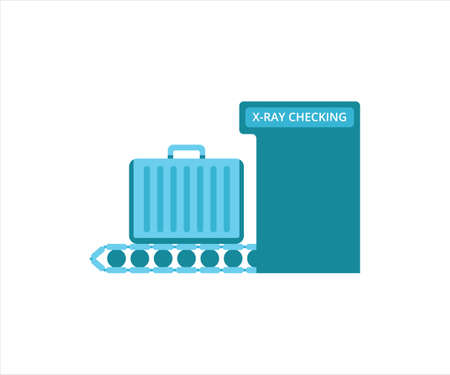 simple flat design illustration of luggage x ray inspection machine in the airport