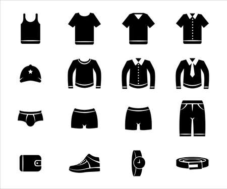 Simple Set of male men's outfit wear Related Vector icon graphic design template. Contains such Icons as clothe, shirt, pant, short, underwear, button shirt, wallet, shoe, watch, and belt 向量圖像