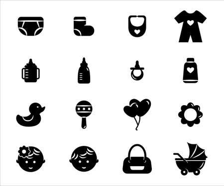 Simple Set of baby supplies item Related Vector icon graphic design template. Contains such Icons as baby, outfit, toy, duck, trolley, bag, pacifier bottle