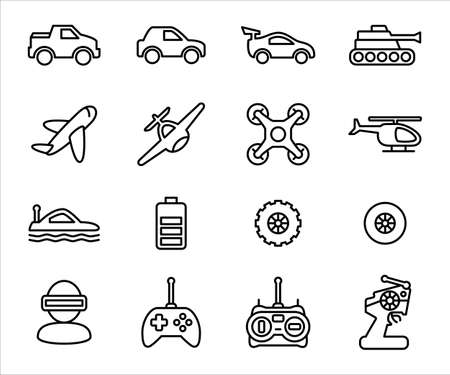 Simple Set of remote control toy Related Vector icon graphic design template. Contains such Icons as remote controller, car, drone, game, buggy, helicopter, tank, airplane, plane, submarine, and bigfoot