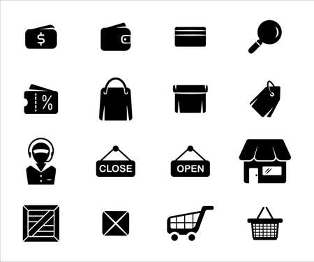 Simple Set of online shop market Related Vector icon graphic design template. Contains such Icons as money, fund, sell, sale, wallet, purse, bag, discount, box, price, tag, customer service and more 向量圖像