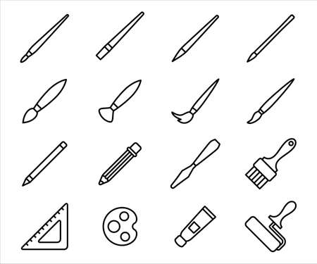 Simple Set of painting art supply Related Vector icon graphic design. Contains such Icons as paint brush, pencil, pen, blade, mop, rigger, flat, round, filbert, pallet, ruler, roll, acrylic paste