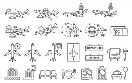 Simple Set of airport and airplane-related vector icon lineal style icon design. Ilustração
