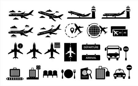 Simple Set of airport and airplane-related vector icon lineal style icon design. Çizim