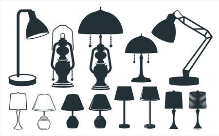 assorted lamp and lantern vector graphic design template set for sticker, decoration, cutting and print file