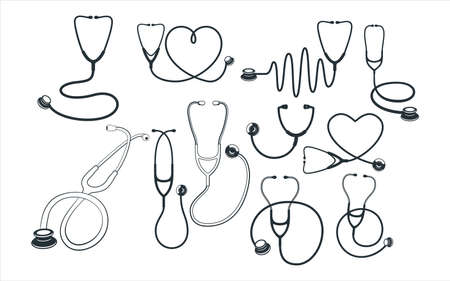 assorted medical stethoscope vector graphic design template set for sticker, decoration, cutting and print file